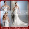 P036 Sexy Cap Sleeve Beaded Champagne Wedding Dress