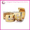 gold circle triple clear rhinestone hoop earrings crystal earring