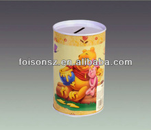 diameter 80mm and height 130mm round winnie pooh metal money box for birthday gift