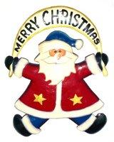 Metal Christmas Decoration - Handpainted Flying Santa