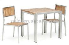 OP-T03+OP-738 Stainless steel garden dining set with teak wood top