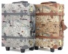 Map pattern print design trunk case with wheels