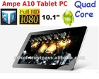 "Quad-Core Ampe A10 tablet PC 10.1""IPS screen Multi Touch Tablet with Freescale i.MX6Q 4.8GHz 1GB/16GB WIFI Bluetooth Dual camera"