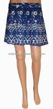 Ladies cotton printed mini skirts - Mini wrap around skirts - Beach wear women short mini skirts