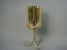 wholesales gold tall glass and metal candle holderBS509-1