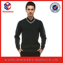 Unique Design Double V Neck Soft Feel Pullover Knitting Pattern For Men