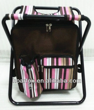 Stripes fabric stool with cooler bag,Cooler backpack with shoulder straps,cooler chair for picnic