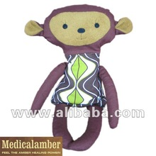 Toy warmer-cooler Monkey - With Baltic amber gemstone filling. 100% Eco Friendly Toy