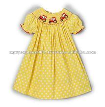 Yellow Polka Dot Smocked Tractor Bishop Dress - Infant, Toddler & Girls