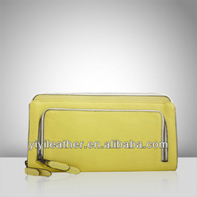 R-074 sofe leather fold flat clutch bag, contract color zipper envelope purses