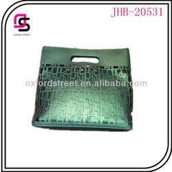 Metallic punching pu leather clutch bag,new model cuthch,handbag