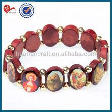 wooden wood epoxy bead bracelet