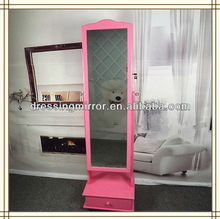 Chinese wooden floor stand mirror cabinet bedroom