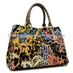 Luxuy cowhide handbag ostrich handle italian leather