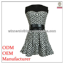 top fashion design korean dresses 2013 with print and belt