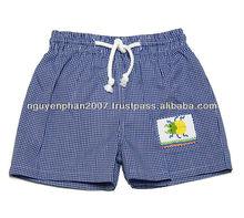 Boys Royal Blue Gingham Smocked Bug Swim Trunks
