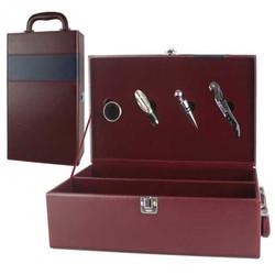 PU faux leather wine bottle carrier,bottle wine case