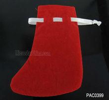 8*11cm Red Christmas sock velvet bag wholesale for christmas gift