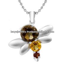 Rhodium Plated Silver Bee Pendant with Smoky Quartz Citrine & Garnet