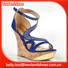 fashion navy blue glitter bling high wedge shoes