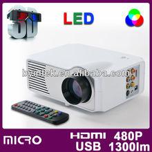 HDTV HDMI USB HD 1300lm multimedia pocket pico mini TV LED LCD projector