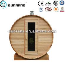 Western Red Cedar burning sauna heater probable outdoor barrel sauna room SR1S1002 sauna room