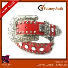 de cuero rojo occidental baratos hebilla de cinturón de diamantes de imitación