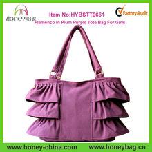 Trend Flamenco Plum Purple Bulk Canvas Ruffles Designer Handbags 2014