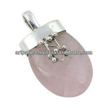 Fashion Accessories Rose Quartz Silver Pendant