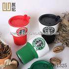 porcelain starbucks coffee mug with silicon sleeve and plasitc lid