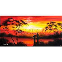 Handmade New Modern african landscape paintings oils on canvas,sunrise people portrait