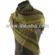 Shemagh Arab Scarf Military Army 100 % Cotton Shemag in Oliv / Black wight 200 g