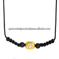 uncut rose cut diamond 18k yellow gold beads macrame necklace, precious black onyx gemstone beads necklace jewelry