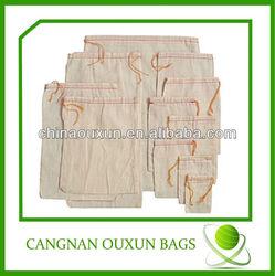 Pure whiteness small muslin drawstring bag
