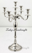 Silver 5 Arms Candelabra for Party Decoration