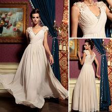 Hotsell fashion deep V neck applique bead pregnant chiffon evening dress in cream color
