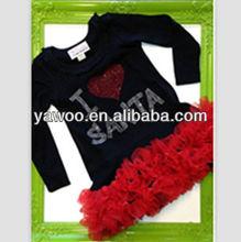 Hot Winter December celebrate holiday black long sleeve I love chiffon ruffle latest clothes for girls santa shirt child garment
