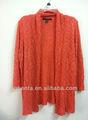 Ladies' 100% chaqueta de punto de acrílico de la moda de las señoras chaqueta de punto con cremallera sin kf5313