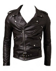 Boys Slim Fit Motorcycle Leather Jacket Brown