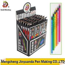 12 pcs fluorescent wooden hb pencil with color eraer