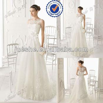 Modest Lace Appliqued A line suzhou wedding dress with flower sash