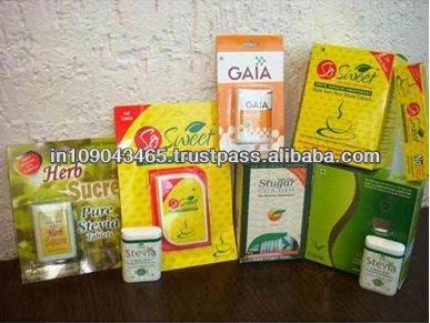 Stevia endulzante natural comprimidos, sin azúcar edulcorante tableta, comprimidos de stevia en dispensador con el paquete de ampolla