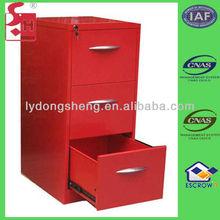 Three drawers red multi drawer metal file cabinet
