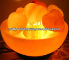 Crafted bowl Shaped Rock Salt lamp with hearts
