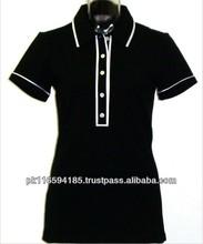 Ladies Custom Design Plain Short Sleeve Cotton Polo Shirt