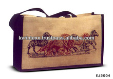 horse print jute travel school bag