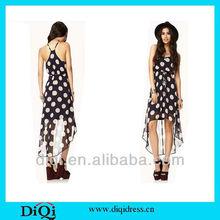 wholesale fashion dress dot printing chiffon dress with and irregular bottom