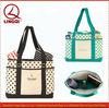 Wholesale chic polka dot printed natural canvas beach bag