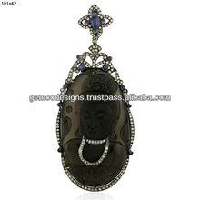 Carved Obsidian 18K Gold Handmade Pendant, Blue sapphire Pave Diamond Handmade Wholesale Jewelry