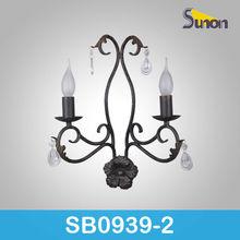 Bronze doule light iron bracket crystal wall lamp outdoor